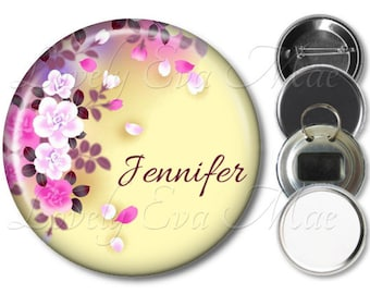 Personalized Pocket Mirror, Purse Mirror, Magnet, Bottle Opener Personalized Key Ring, Pin Back Button