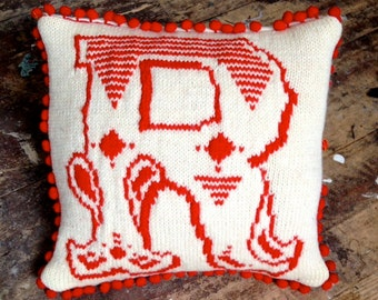 Custom Made Scatter Cushion/Pillow with Knitted Letter in Circus Style. Made to Order. Bespoke for You.