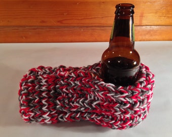 Red, Gray, and White Drink Mitten