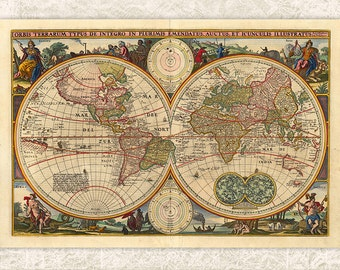Digital Antique Map - Printable - INSTANT DOWNLOAD Antique Old Map Double Hemisphere Circa 1800s Map - Print Map - Antique Vintage Map JPG