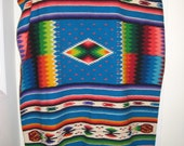 Vibrant large turquoise MEXICAN SERAPE wool blanket 90x53 plus fringe in EXCELLENT condition