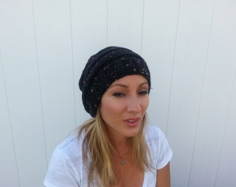 Free Shipping Women's Slouchy Black Marble Beanie Hat