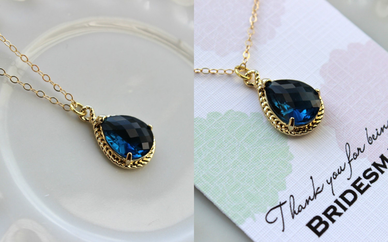 gold sapphire necklace navy blue wedding necklace jewelry. Black Bedroom Furniture Sets. Home Design Ideas