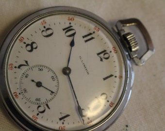 Antique Illinois 15 Jewel S-6 Pocket Watch made in 1913 RUNS !