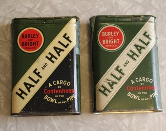TWO Vintage Half and Half Tobacco Tins
