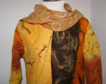 JACKET; FELT JACKET, silk-wool; Nuno Technique;  ladies jacket, felted,