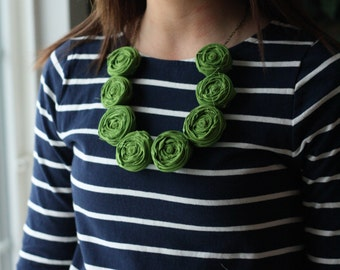 Moss Rolled Fabric Rosie Posie Necklace