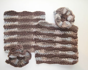 Dish/Wash Cloths - Set of 4 - Browns & Tans! - 100% Cotton - Hand Crocheted - Wedding - Camping - Kitchen Gear - Bathroom - Dishcloth