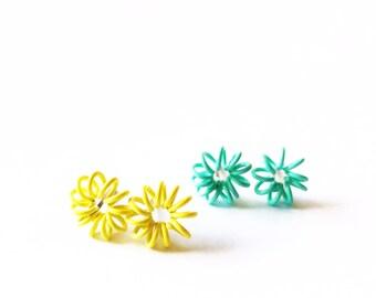 CLEARANCE - Little Spring Earrings  - Yellow earrings - Fashion earrings - Spring coil - Turquoise earrings - Post earrings - Stud earrings