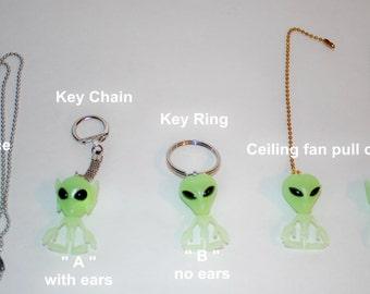 Glow in the dark Little Green Men Aliens  ceiling fan/light chain pull or necklace or key chain