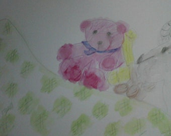 Blue Ribbon Bear & Goat Watercolor Painting