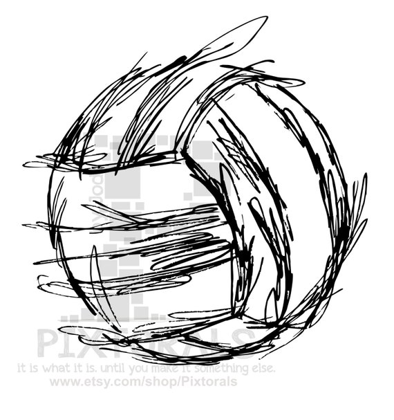 Volleyball EPS file JPEG PNG sketchy Screen Printing