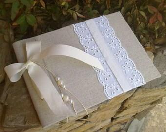 Vintage romantic guestbook - Linen fabric and cotton lace - Vintage Wedding guest book - Unique guest book - Best bridal shower gift -