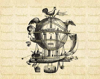 Steampunk Airship Hot Air Balloon Digital Image Download for Transfer Tea Towel Totes Pillows Burlap Print on Paper.T043