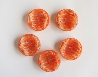 5 Orange Buttons, Medium Large celluloid Buttons with texture, Very Original, Old Vintage buttons, Never Used!