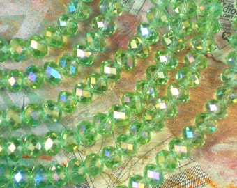 10x12  chrysolite green ab zen crystal