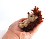 HEDGEHOG animal doll, miniature hedgie, little amigurumi porcupine, crocheted stuffed animal, chubby hedgehog animal figure, stuffed toy