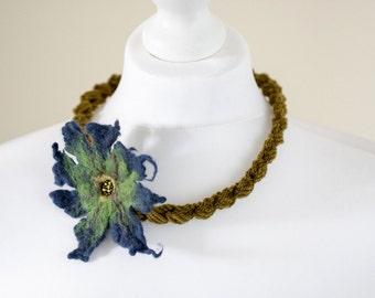 Crochet necklace with felted flower