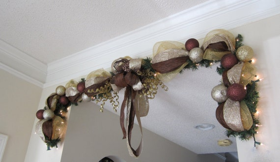 Christmas garland lighted swag mesh mantel by for Christmas swags and garlands to make