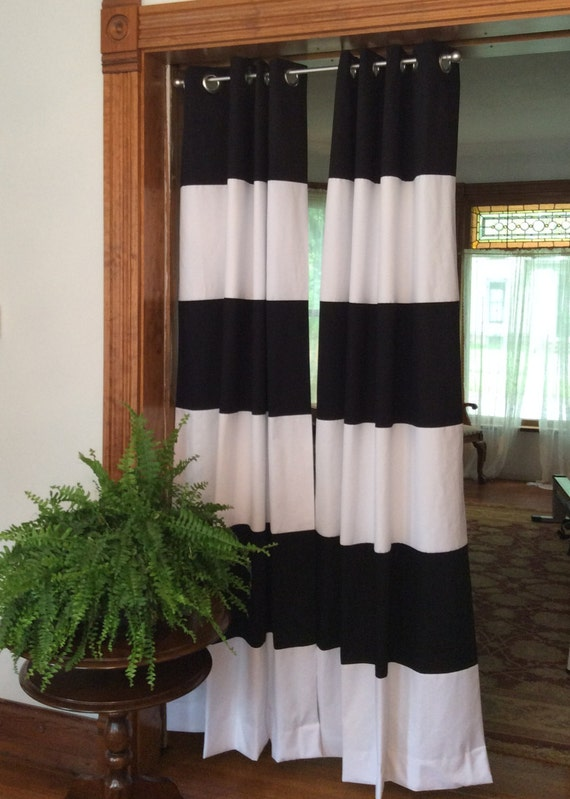 ... Horizontal Wide Striped Curtain Panels (set of 2)- Lined on Etsy
