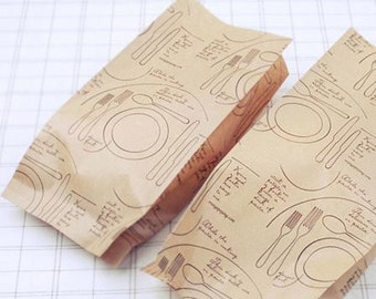 100sheets 4x9 kraft brown paper bags with Dishes illustration_FOOD SAFE Gourmet Bags treat bags_Merchandise bags