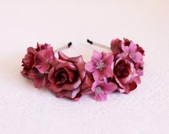 Crimson Roses with Mauve Larkspur Flower Headband/Red, Floral Headpiece, Roses,Bridal Flower Crown