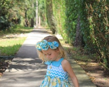 READY TO SHIP!  Adorable, Whimsical Girls/Toddler Chevron  Spring Dress 12m,2T,3T,4T,5T,6T,7