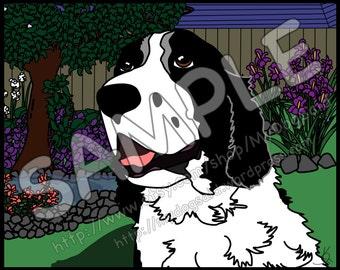 Custom full-color cartoon pet portrait with background - single pet