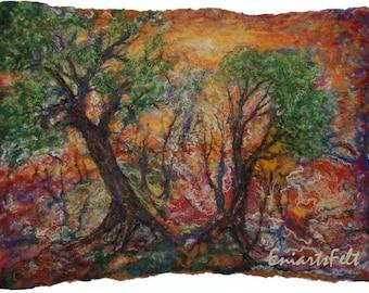 Fiber  landscape picture , Felt art painting  Felt art picture , Felt wall art  , Painting with wool , Fiber art mixed media , Textile art