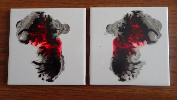 set of two inked ceramic tile coasters