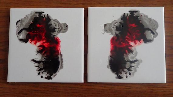 set of two inked ceramic tile coasters