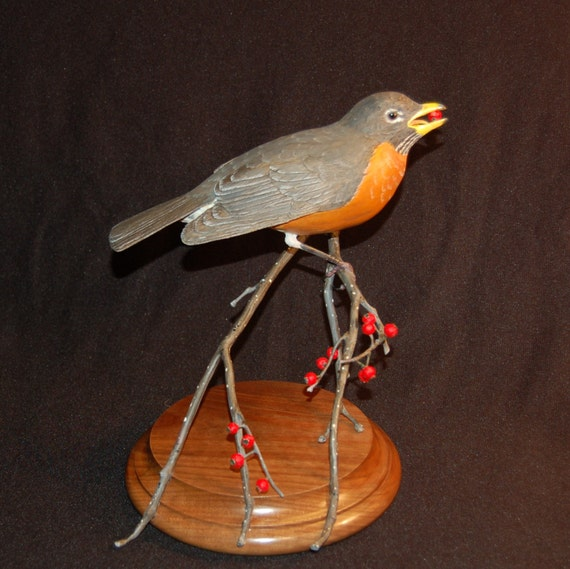 Bird carving wooden wood american by