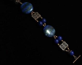 Etruscan Cuff bracelet with Lapis Lazuli Discs
