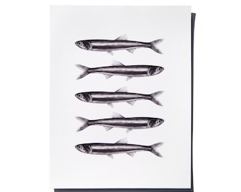 Anchovies black and white giclee print of charcoal original, 8.5 x 11