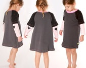 SALE - dark gray toddler tunic dress with a touch of neon pink - short sleeves