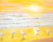 "Original Pastel drawing ""Sunset in the Beach"""