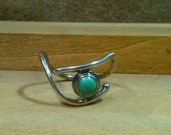 Turquoise and Beaded Sterling Silver Wire Ring