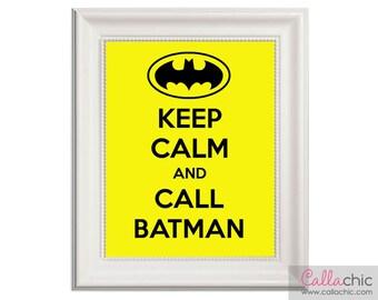 Keep Calm and Call Batman Wall Art PRINTABLE Prints - Superhero Bright Yellow for Boys Room (INSTANT DOWNLOAD) diy
