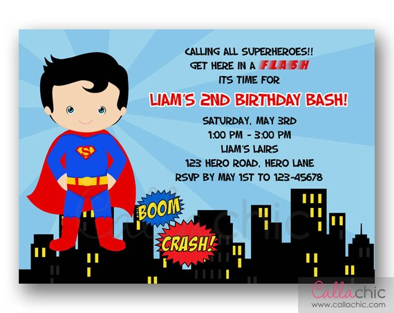 Superman Birthday Invitations Printed Pictures to Pin – Superman Birthday Invitations