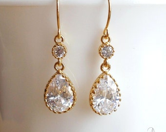 Gold Crystal Earrings - Wedding Bride Bridesmaids Jewelry - Maid of Honor Gift - Elegant Simple Gold Plated Clear Crystal Dangle Earrings