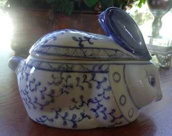 Blue and White Covered Bunny Dish