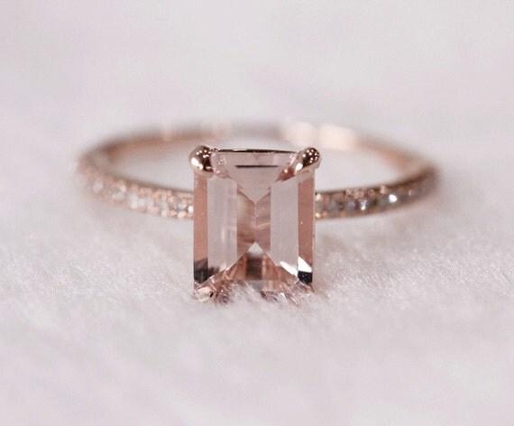 items similar to pink emerald cut 6x8mm vs morganite ring