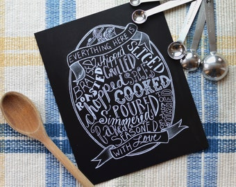 Kitchen Chalkboard - Kitchen Print - Made With Love - Chalkboard Art - Foodie Gift - Typography - Gift for Cooks - Kitchen Sign
