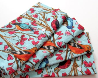 Large Cloth Napkins - Set of 4 - Red Turquoise Birds