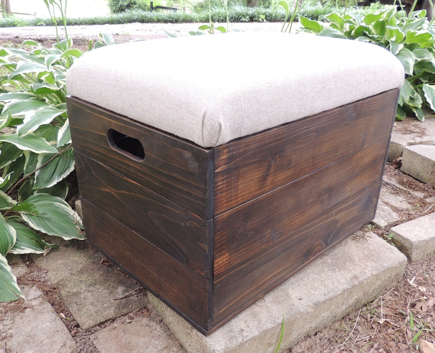 Rustic cedar wooden crate ottoman foot stool by