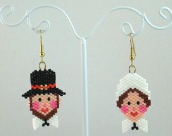 Beaded Pilgrim Couple Earrings - Thanksgiving Jewelry