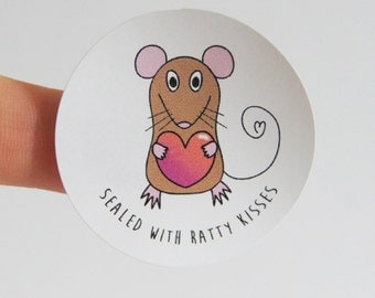 4 envelope seals, set of 4, sealed with ratty kisses, funny sticker, sealed with love, animal, pet rat, mouse, greetings card seal, set of 4
