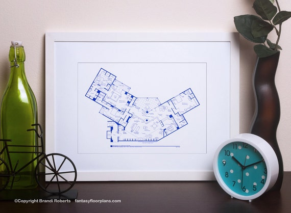 Frasier apartment poster tv show floor plan blueprint art like this item malvernweather Image collections