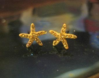 Yellow Tiny Starfish Earrings - Stud Earrings - Rhinestone Starfish Earrings - Beach Earrings - Beach Wedding - Nautical Jewelry