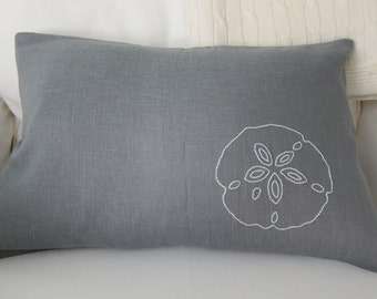 Hand-Embroidered White Sand Dollar on Slate Grey Linen Lumbar Pillow Cover 12 x 18 Inches